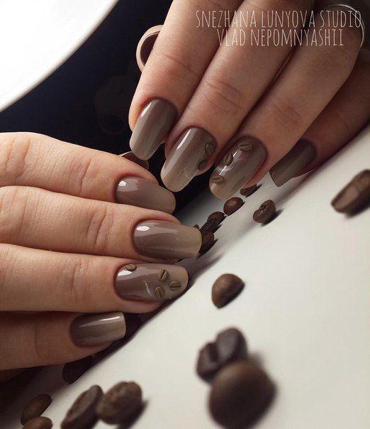 Brązowe ombre paznokcie
