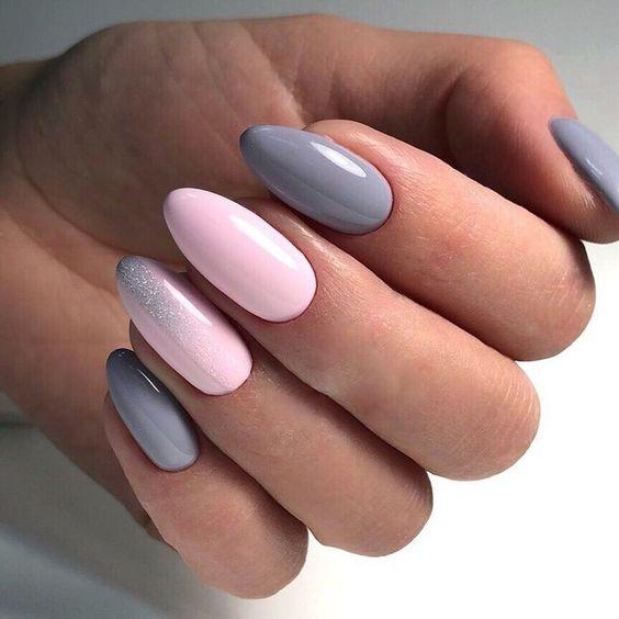 Szaro różowe paznokcie na jesień