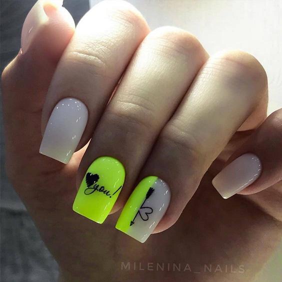 Limonkowe paznokcie z wzorkami