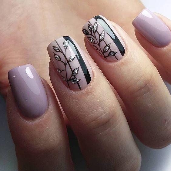 Lawendowe paznokcie na jesień