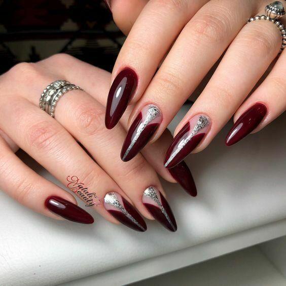 Bordowo srebrne paznokcie