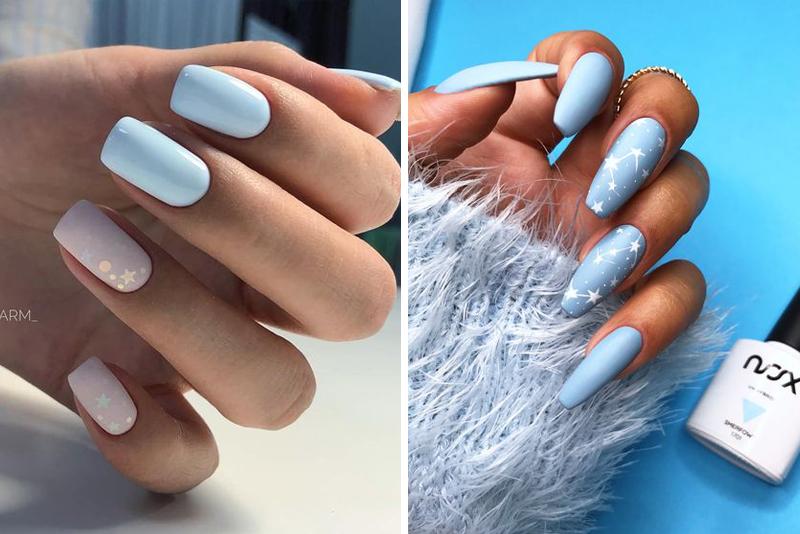 Błękitne paznokcie z wzorkami – 14 wspaniałych pomysłów