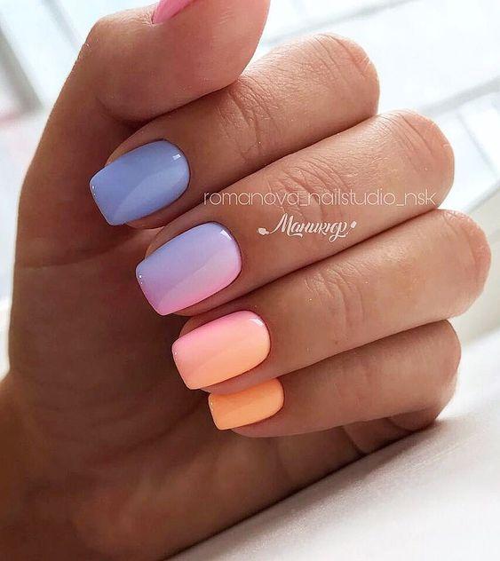 Pomarańczowe paznokcie z ombre