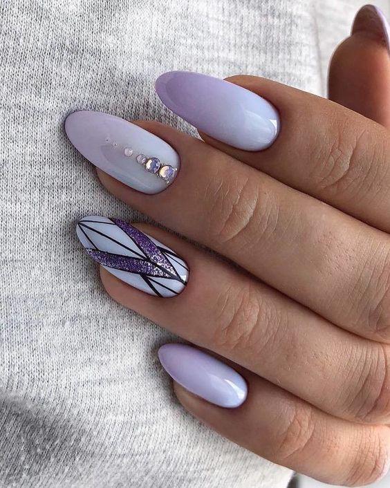 Lawendowe paznokcie z ombre