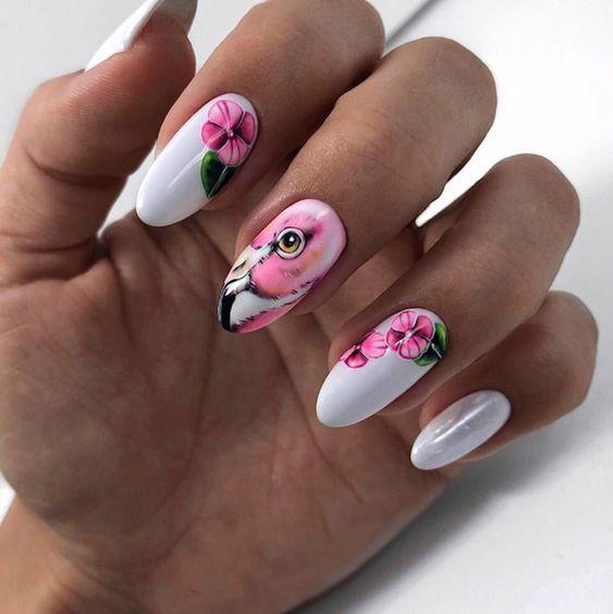 Manicure z flamingiem na lato