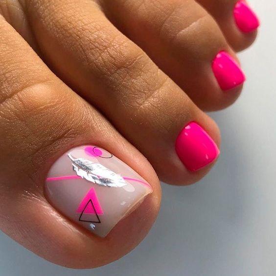 Neonowe paznokcie u stóp na lato