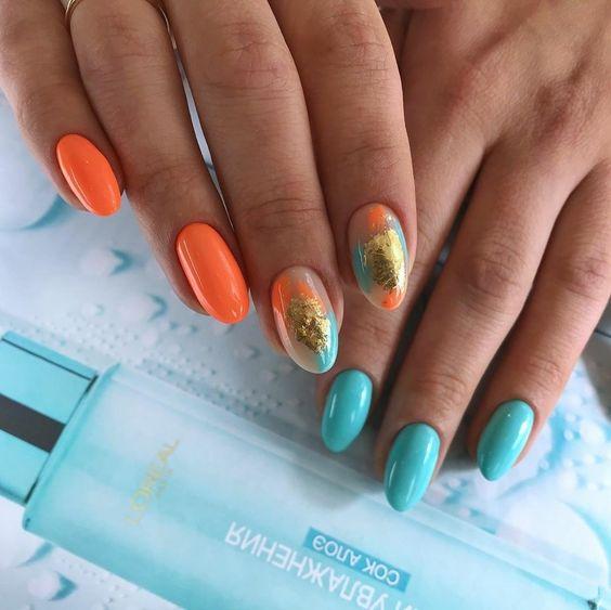 Pomarańczowo turkusowe paznokcie