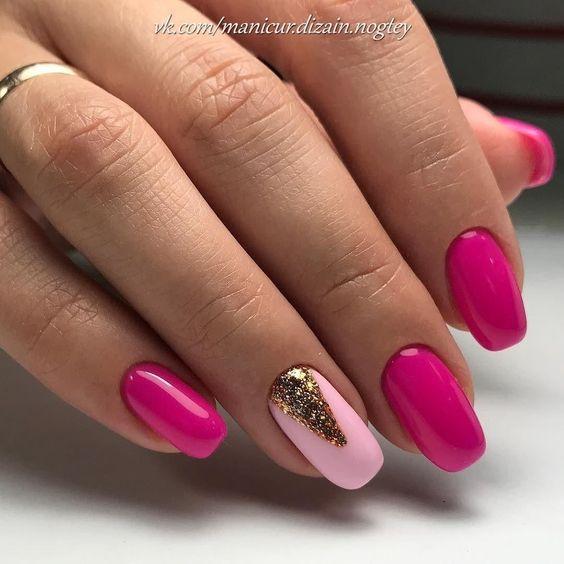 Neonowe różowe paznokcie z wzorkami