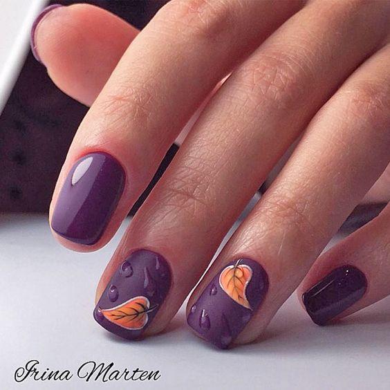 Fioletowe paznokcie ze zdobieniami na jesień