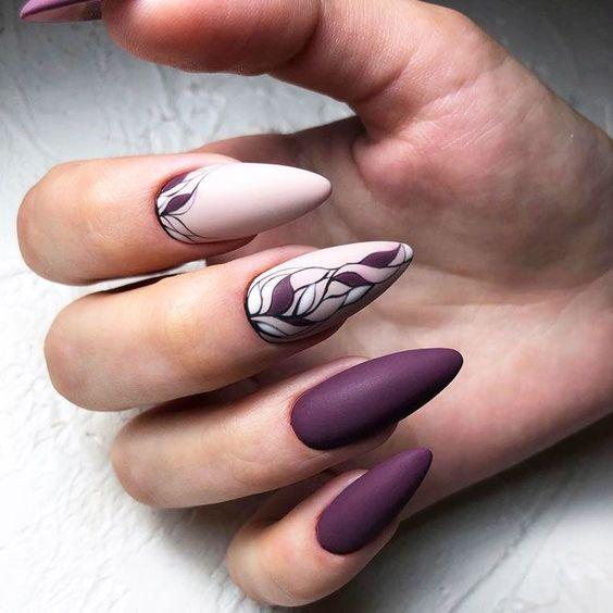 Matowe paznokcie ze zdobieniami na jesień