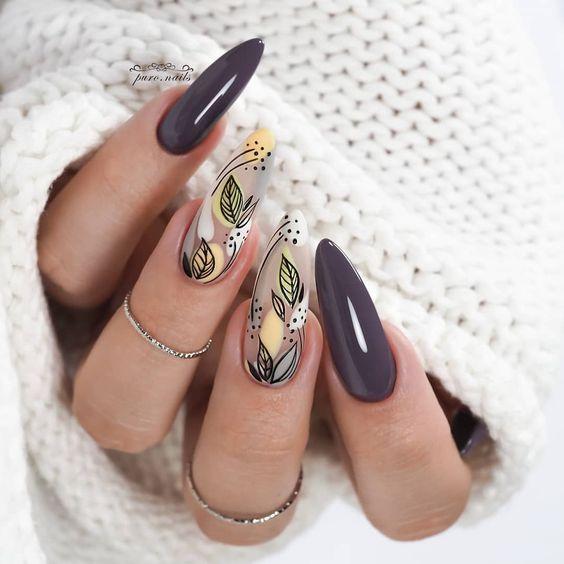 Szare paznokcie ze zdobieniami na jesień